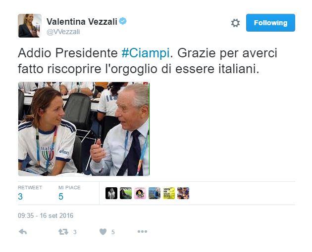Ciampi, il cordoglio dello sport italiano