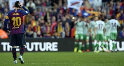 Liga: crollo Barça col Betis, il Siviglia accorcia sulla vetta e risale il Real Madrid