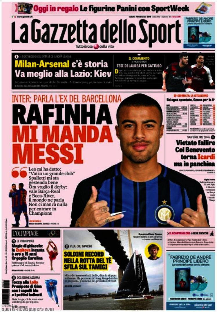 Ecco le prime pagine e gli approfondimenti sportivi dei principali quotidiani italiani e stranieri in edicola oggi, sabato 24 febbraio 2018.