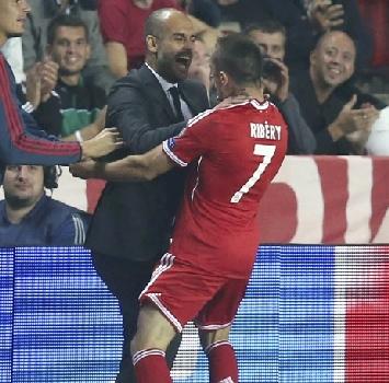 Guardiola e Ribery, foto Reuters