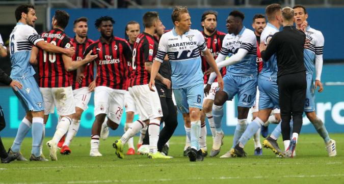 Milan-Lazio, rissa dopo il fischio finale