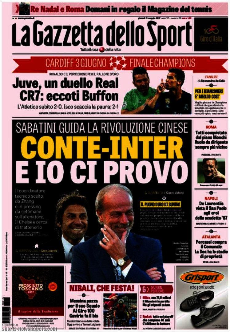 Ecco le prime pagine e gli approfondimenti sportivi dei principali quotidiani italiani e stranieri in edicola oggi, giovedì 11 maggio 2017.