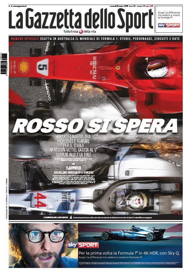 Ecco le prime pagine e gli approfondimenti sportivi dei principali quotidiani italiani e stranieri in edicola oggi, venerdì 23 marzo 2018.