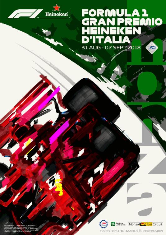 È countdown per il GP di Monza che si terrà tra il 31 agosto e il 2 settembre: in Autodromo è stato presentato il poster ufficiale. «L'Automobile Club d'Italia – ha dichiarato il suo Presidente, Angelo Sticchi Damiani - ha preso in mano le redini del Gran Premio d'Italia, per tutelare la sua storia prestigiosa e proiettarla verso un nuovo e più certo futuro, in un momento cruciale per il mondo dei motori. Nella nuova gestione di Liberty Media, la Formula 1 cambia assetto e paradigma, ma i suoi valori in termini di tradizione e sportività vengono esaltati sotto una luce ancora più intensa. Il Gran Premio d'Italia a Monza - tappa fondante del mondiale di Formula 1 - gode ora di una nuova identità, raffigurata con abilità e passione nel manifesto realizzato da un artista come Aldo Drudi, capace di fermare nell'attimo di un disegno la velocità dei piloti e dei loro bolidi. Un manifesto, che simboleggia la fusione tra tradizione e innovazione, che sarà l'icona dell'appuntamento mondiale di Monza e dell'Italia intera con la F1 e apparirà in tutti i materiali di comunicazione del Gran Premio».  Secondo Giuseppe Redaelli, Presidente di Autodromo Nazionale Monza SIAS SpA, società che gestisce il Monza Eni Circuit: «La decisione del Presidente Angelo Sticchi Damiani di ospitare la presentazione del poster ufficiale all'Automobile Club d'Italia è la dimostrazione di quanto il Formula 1 Gran Premio d'Italia sia per ACI un orgoglio e un importante impegno. Il manifesto, richiamando cromaticamente il tricolore, rimarca la rilevanza che il principale evento di motorsport ha per l'intero Paese Italia. L'Autodromo, come da tradizione, si sta dunque preparando al meglio per ospitare centinaia di migliaia di appassionati dal 31 agosto al 2 settembre, con l'auspicio di replicare il grande successo di pubblico registrato nel 2017 con 185mila presenze in tre giorni».  «Monza è una delle piste più antiche in cui si corre il Campionato del Mondo di Formula 1», ha dichiarato il designer Ald