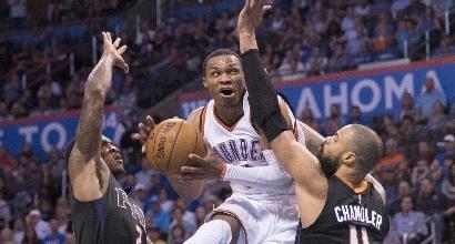 Nba: pazzesco Westbrook, successo per Warriors e Cavs