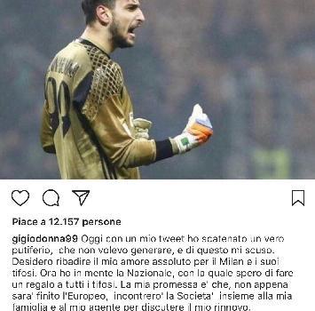 """Donnarumma, dichiarazione con il giallo: """"Amore assoluto per il Milan"""""""