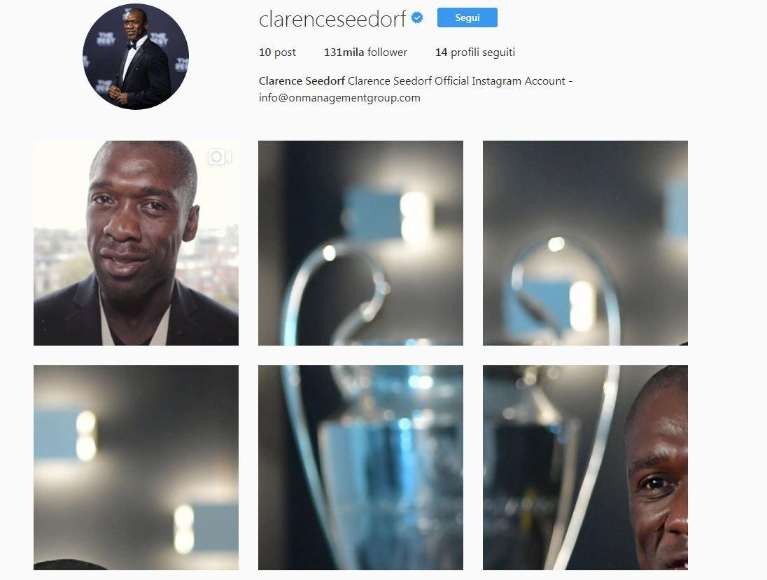 Seedorf arriva su Instagram, il benvenuto del calcio