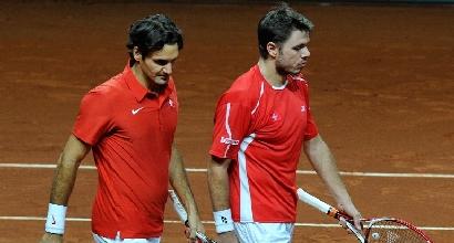 Federer e Wawrinka, foto Afp