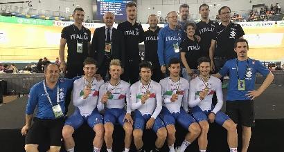 Ciclismo, mondiali su pista: Italia di bronzo nell'inseguimento a squadre