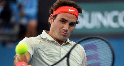 Federer e la nuova racchetta, foto Afp