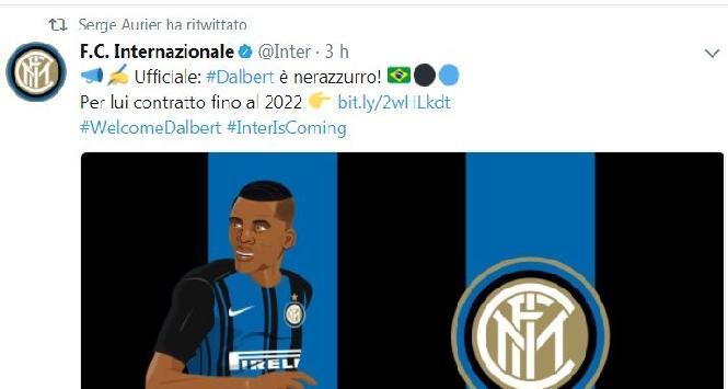 Inter, indizio social: Aurier retwitta Dalbert