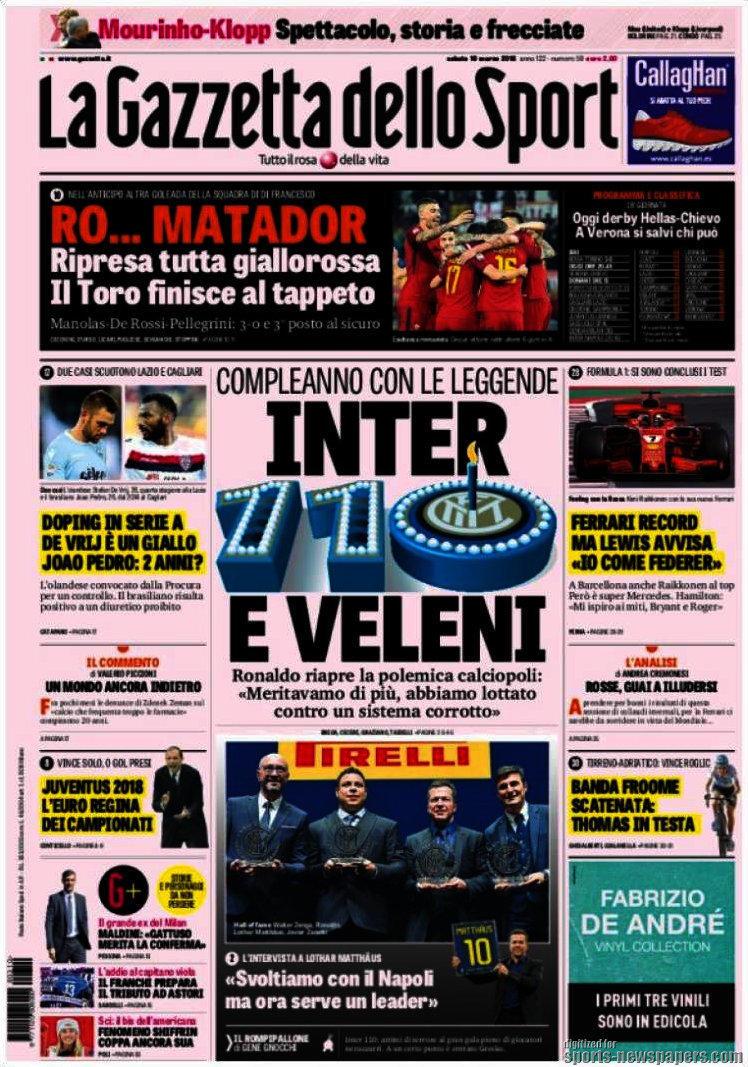 Ecco le prime pagine e gli approfondimenti sportivi dei principali quotidiani italiani e stranieri in edicola oggi, sabato 10 marzo 2018.<br /><br />