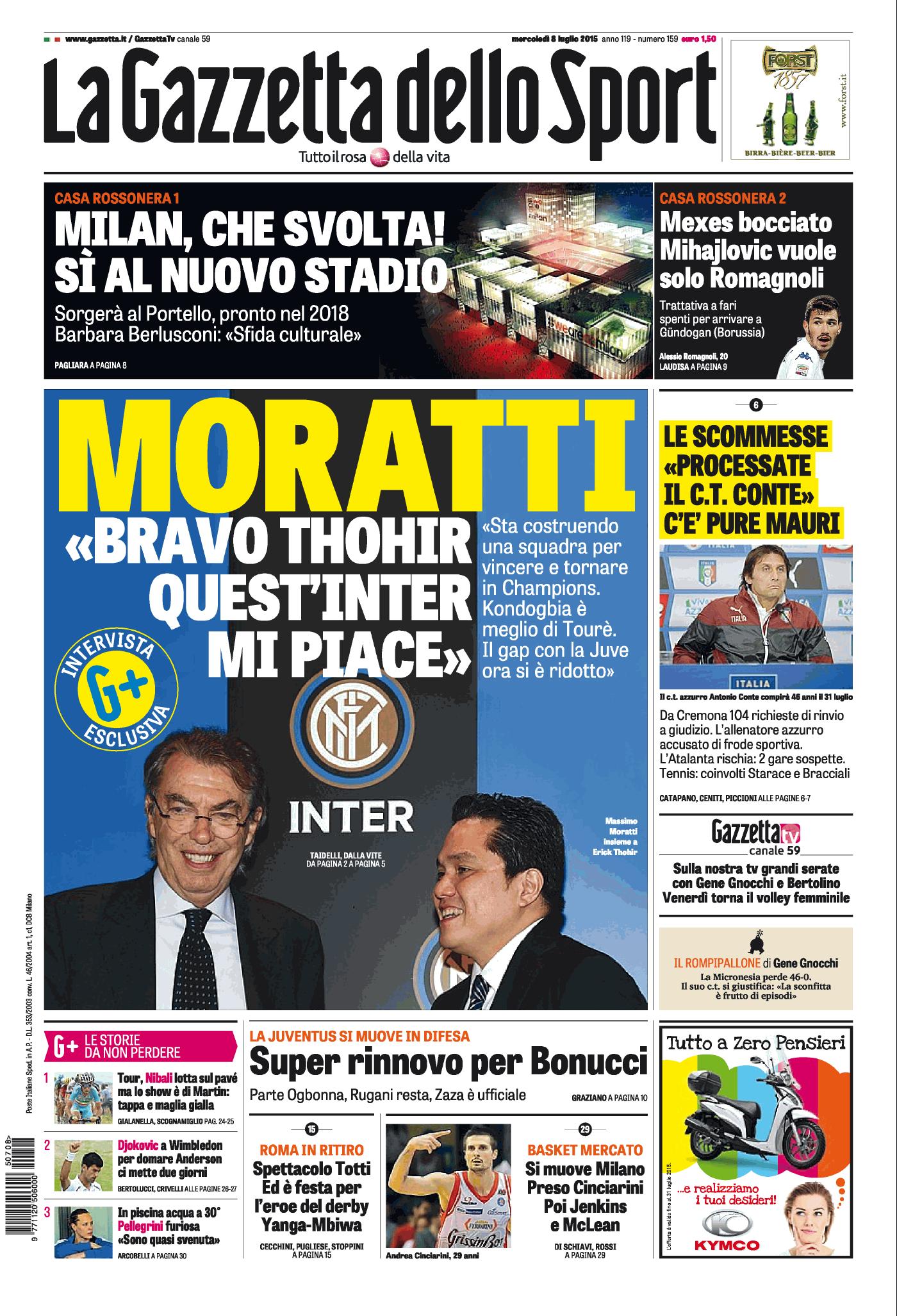 La rassegna stampa dei quotidiani italiani e sportivi