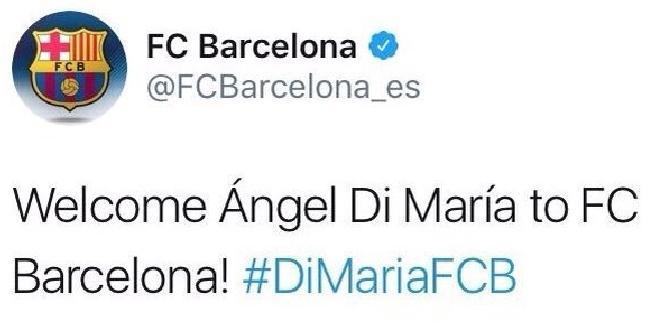 Calciomercato, Di Maria al Barcellona: l'annuncio su Twitter è un hackeraggio