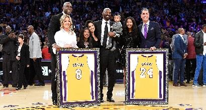 Lakers, ritirate le maglie di Kobe Bryant