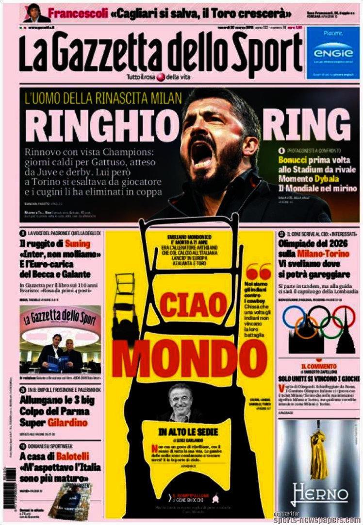 Ecco le prime pagine e gli approfondimenti sportivi dei principali quotidiani italiani e stranieri in edicola oggi, venerdì 30 marzo 2018.