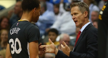 Stephen Curry e Steve Kerr, foto Afp