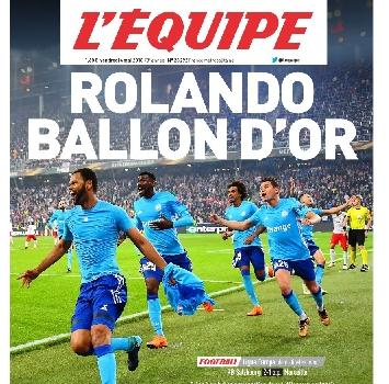 """La prima pagina dell'Equipe per il Marsiglia: """"Rolando pallone d'oro"""""""