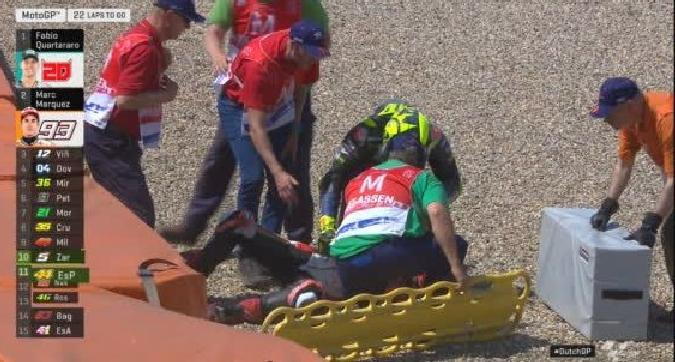 Rossi, pauroso incidente ad Assen