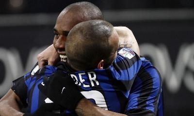 Maicon e Sneijder, foto Lapresse