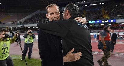 """Napoli, Sarri: """"Mai vista la Juve così in difficoltà"""""""