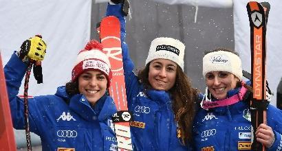 Sci, capolavoro Italia: podio tutto azzurro. Goggia vince davanti a Brignone e Fanchini