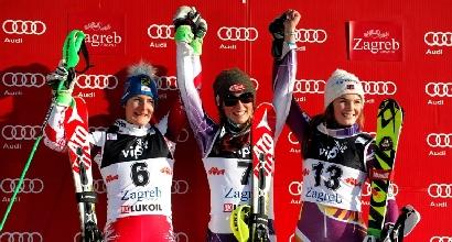 Podio slalom Zagabria (Afp)
