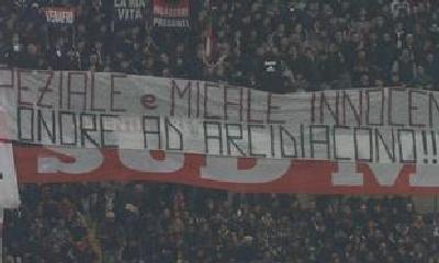 Lo striscione contro le sentenze di condanna Antonino Speziale e Daniele Micale, Foto dal Web