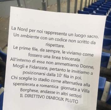 """Lazio, volantino shock in Curva Nord: """"Niente donne, mogli e fidanzate nelle prime file"""""""