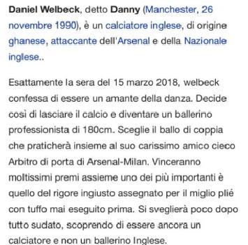 Arsenal-Milan, Welbeck su Wikipedia diventa... ballerino professionista