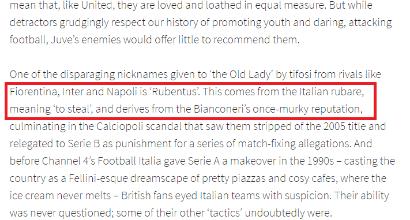 """Manchester United, sul sito la Juventus diventa """"Rubentus"""" citando Calciopoli"""