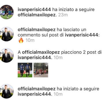Inter, Perisic e Maxi Lopez diventano amici su Instagram: follow reciproco dopo il derby