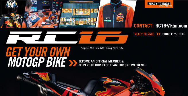 Ktm mette in vendita le sue MotoGP a 250mila euro