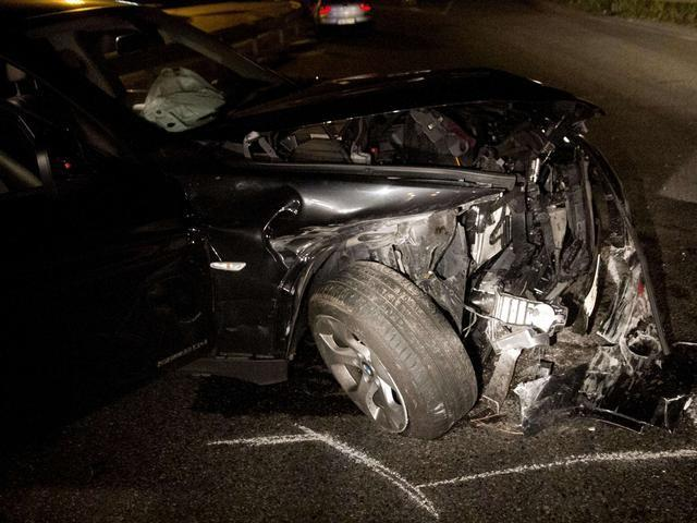 La Bmw X1 di Schelotto dopo un incidente nel settembre 2012.