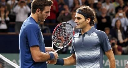 Federer e Del Potro, foto Reuters
