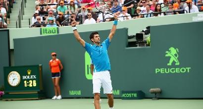 Atp Miami: Nishikori ko, Djokovic trionfa e macina record
