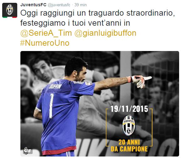 Vent'anni di carriera: i tweet di auguri per Buffon