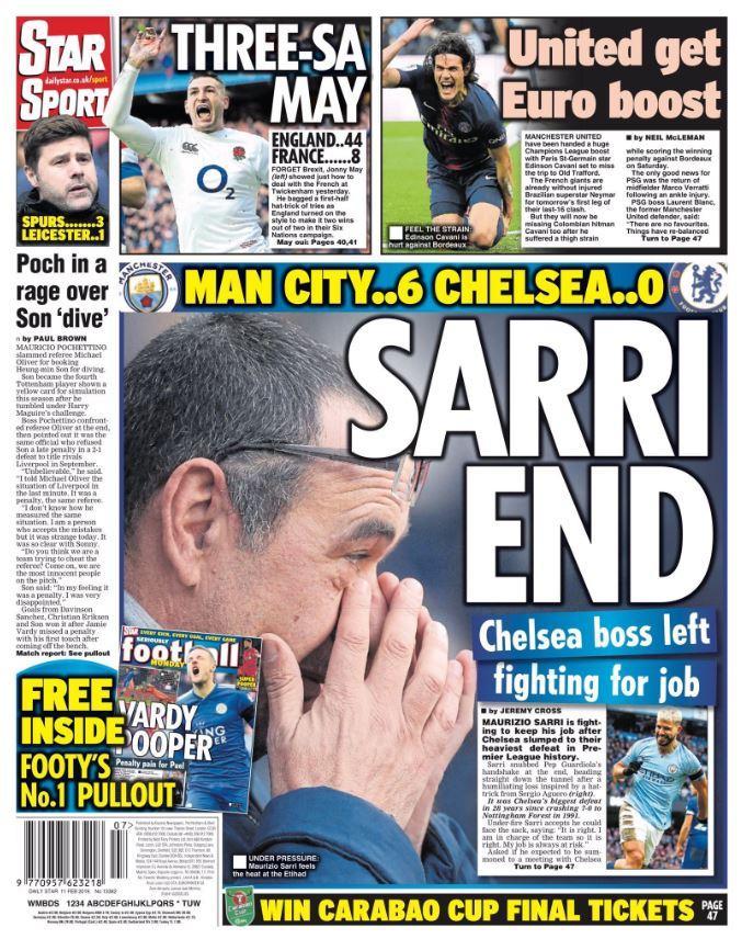 La disfatta di Sarri, la stampa inglese all'attacco
