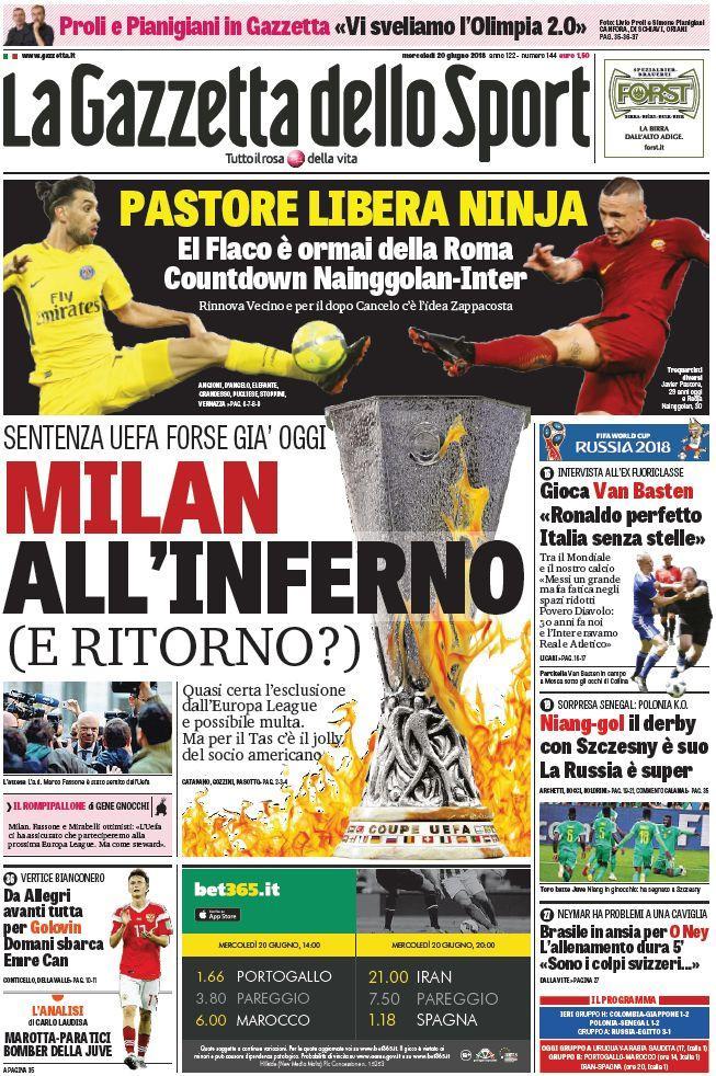 Ecco le prima pagine e gli approfondimenti sportivi dei principali quotidiani italiani e stranieri in edicola oggi, mercoledì 20 giugno 2018.