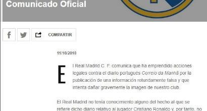 """Caso Ronaldo, comunicato del Real: """"Sul club notizie completamente false"""""""