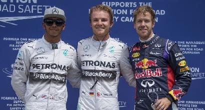 Hamilton, Rosberg e Vettel (Afp)