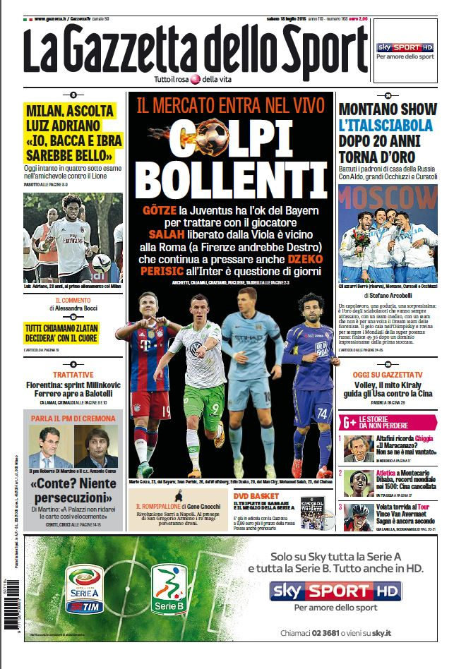 Le prime pagine e gli approfondimenti dei principali quotidiani italiani e stranieri in edicola oggi, sabato 18 luglio 2015.