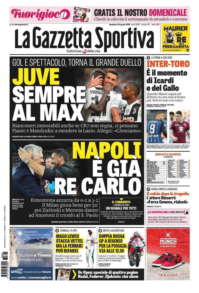 Ecco le prime pagine e gli approfondimenti sportivi dei principali quotidiani italiani e stranieri in edicola oggi, domenica 26 agosto 2018.