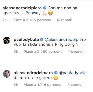 Juventus, sfida tra numeri 10: Dybala e Del Piero avversari a ping pong