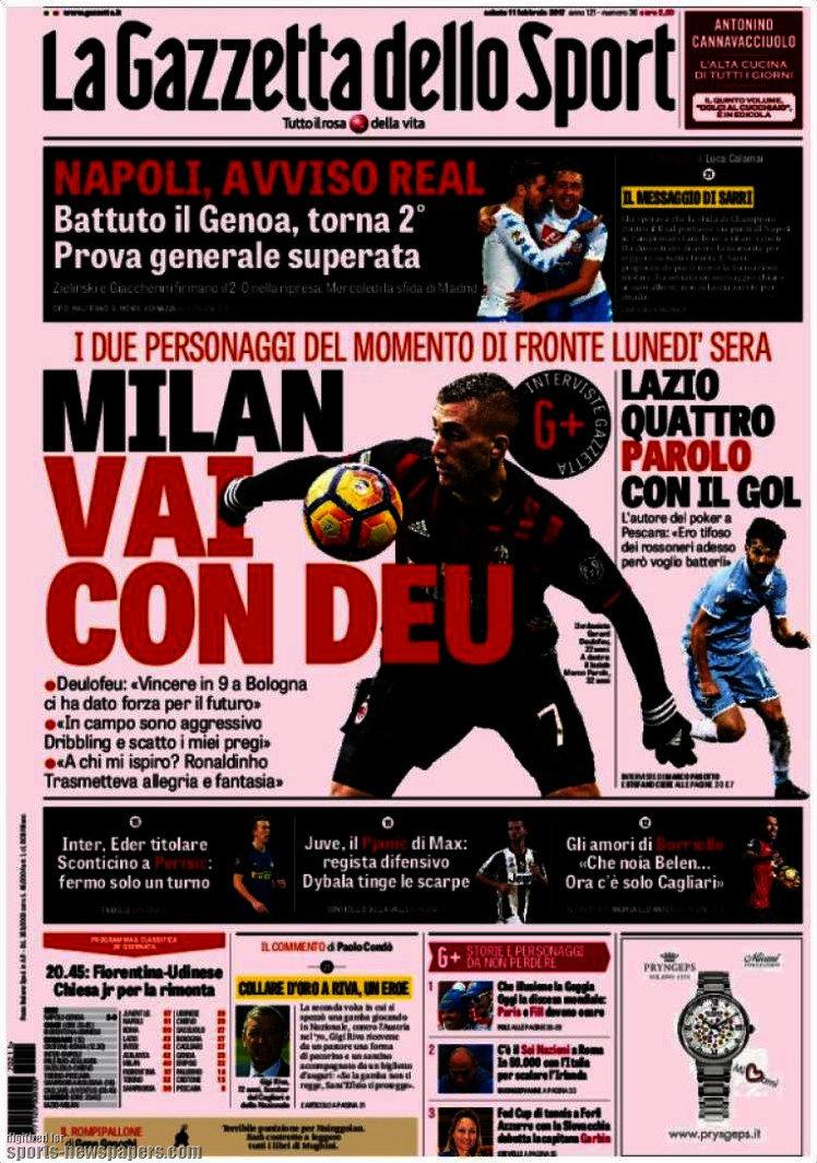 Ecco le prime pagine e gli approfondimenti sportivi dei principali quotidiani italiani e stranieri in edicola oggi, sabato 11 febbraio 2017.