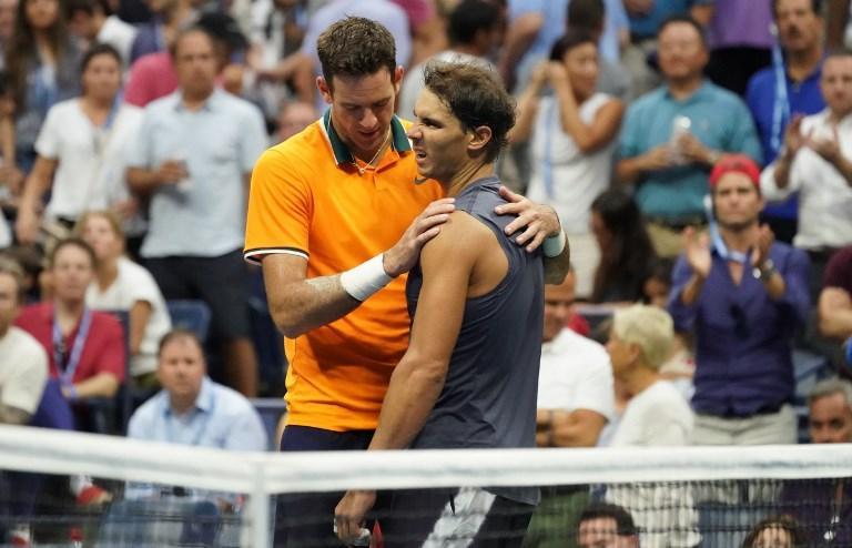 Del Potro abbraccia Nadal, costretto al ritiro agli Us Open (7 settembre)