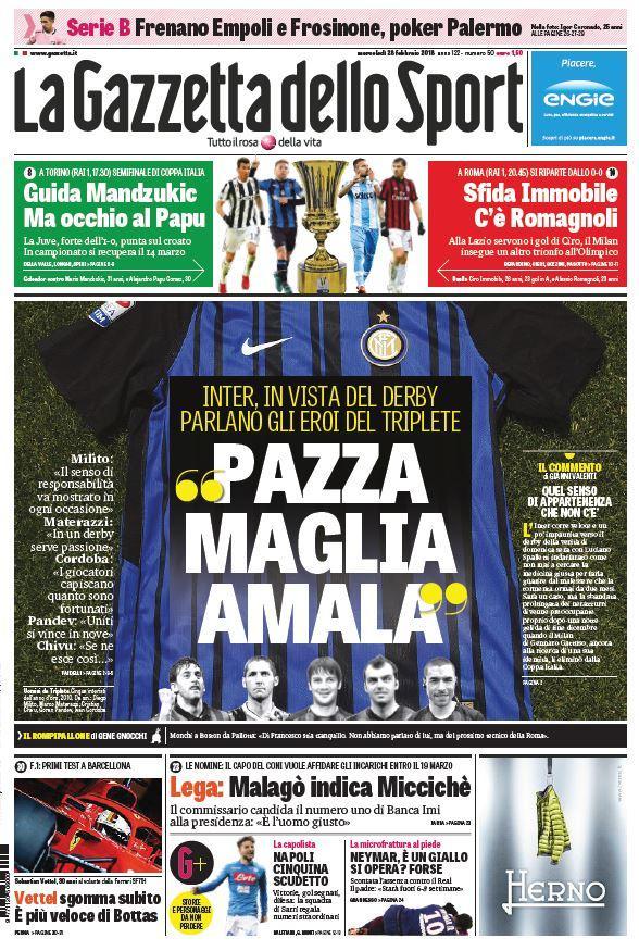 Ecco le prime pagine e gli approfondimenti sportivi dei principali quotidiani italiani e stranieri in edicola oggi, mercoledì 28 febbraio 2018.
