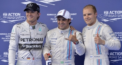Rosberg, Massa e Bottas (Afp)