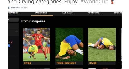 Neymar, anche Pornhub ironizza sulle sue simulazioni