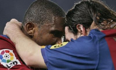 Eto'o e Messi, Lapresse
